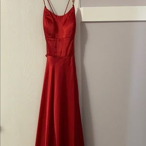 Long red dress with split down the leg